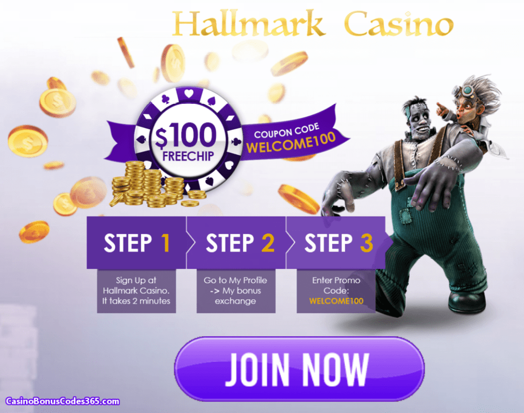 Hallmark Casino $100 No Deposit FREE Chip Welcome Bonus
