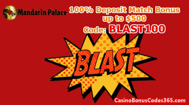 Mandarin Palace Online Casino December Promo 100% Bonus up to $500