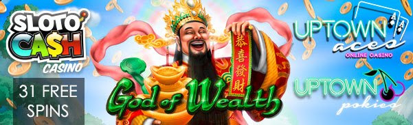 SlotoCash Casino Uptown Aces Uptown Pokies 31 FREE Spins RTG God of Wealth