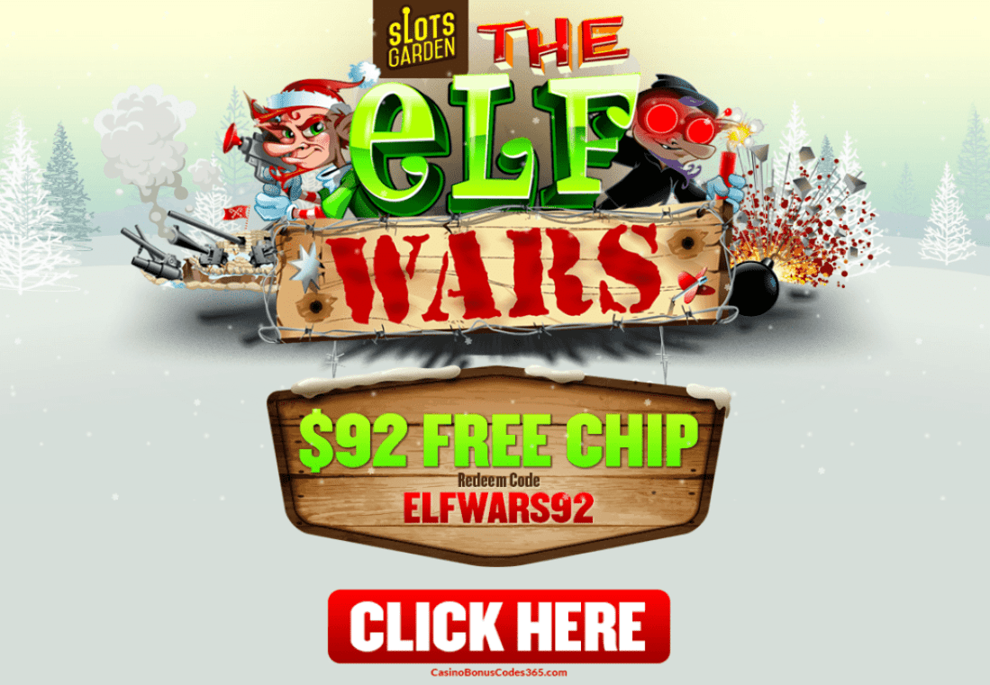 Slots Garden RTG The Elf Wars Holidays $92 FREE Chip No Deposit Bonus