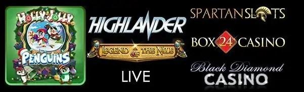 Spartan Slots Box 24 Casino Black Diamond Casino Microging Highlander Holly Jolly Penguins Betsoft Legend of The Nile