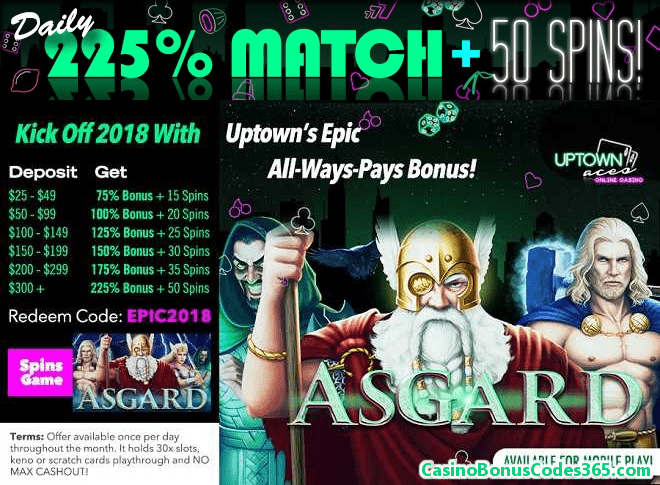Uptown Aces RTG Asgard 225% Daily Match plus 50 FREE Spins