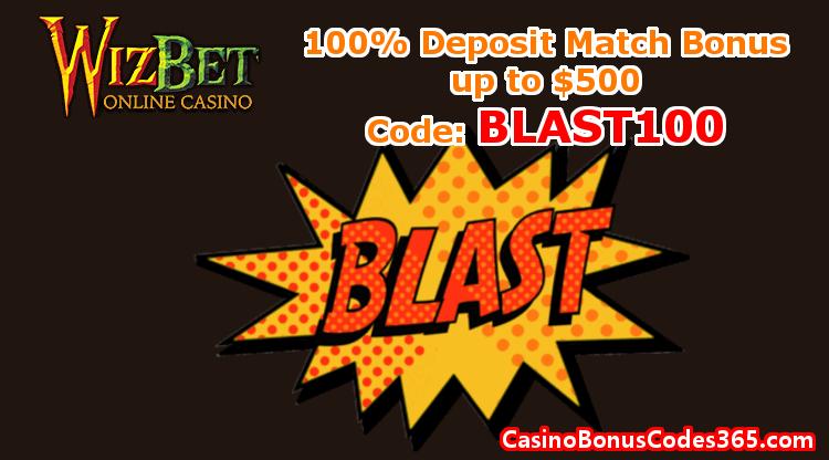 WizBet Online Casino December Promo 100% Bonus up to $500