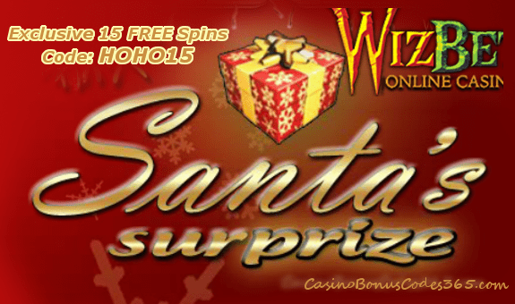 WizBet Online Casino Saucify Santas Surprise 15 No Deposit FREE Spins