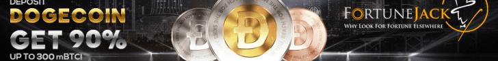 FortuneJack Casino Dogecoin 90% up to 300mBTC Bonus