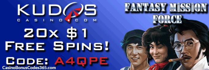 Kudos Casino RTG Fantasy Mission Force 10 FREE Spins