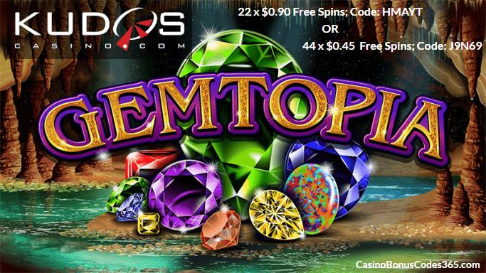 Kudos Casino RTG Gemtopia FREE Spins