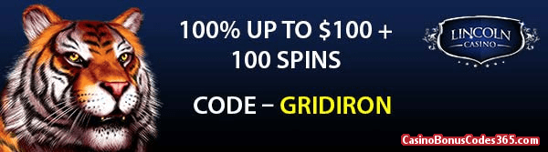 Lincoln Casino Gridiron 100% up to $100 plus 100 Spins WGS King Tiger