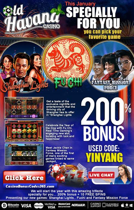 Old Havana Casino 2 New RTG Games Shanghai Lights Fu Chi Fantasy Mission Force