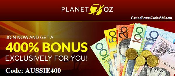 Planet 7 OZ Casino 400% Welcome Bonus