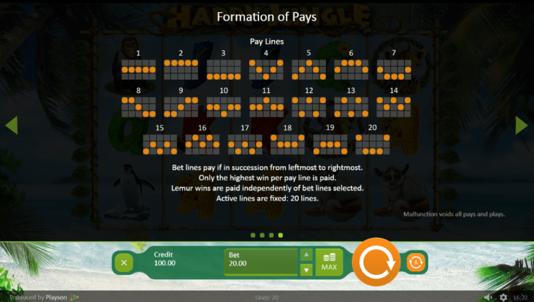 Freaky Aces Playson Happy Jungle 15 No Deposit FREE Spins