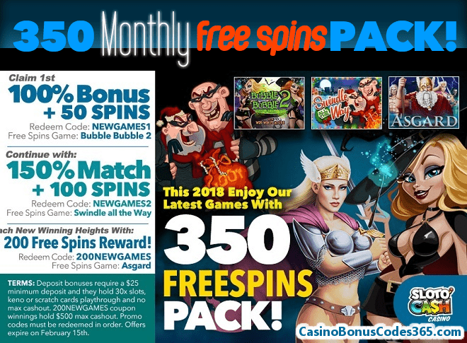 SlotoCash Casino Monthly 350 FREE Spins Pack!