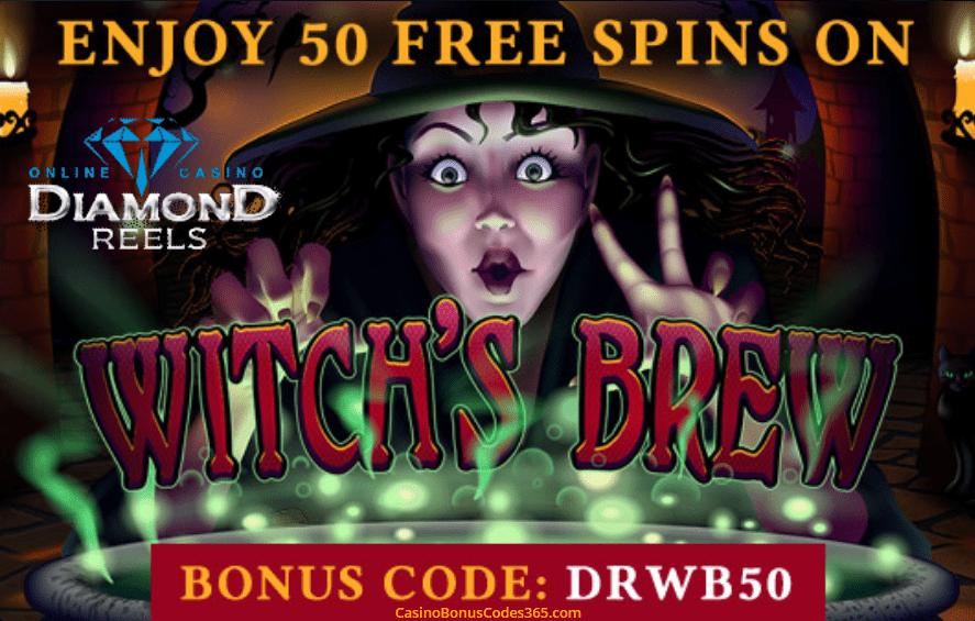 Diamond Reels Casino RTG Witch's Brew 50 No Deposit FREE Spins