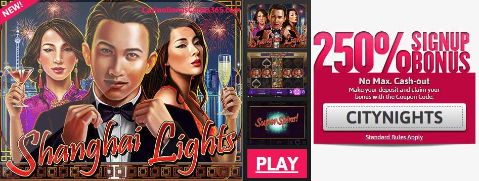 Slots of Vegas New RTG Game Shanghai Lights 250% Bonus