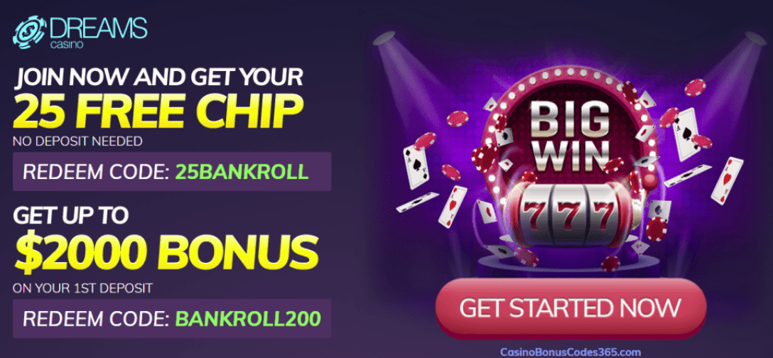 Dreams Casino $25 No Deposit FREE Chip $2000 Bonus