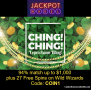 Jackpot Wheel St. Patrick's Day Promotion Deposit Match Bonus plus FREE Spins