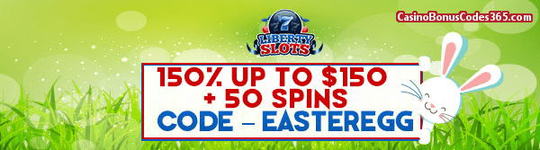 Liberty Slots 150% up to $150 plus 50 Spins WGS Cherry Blossoms Easter