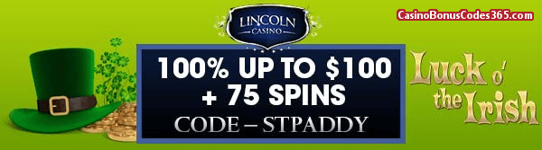 Lincoln Casino 100% up to $100 plus WGS 75 Spins Lucky Irish