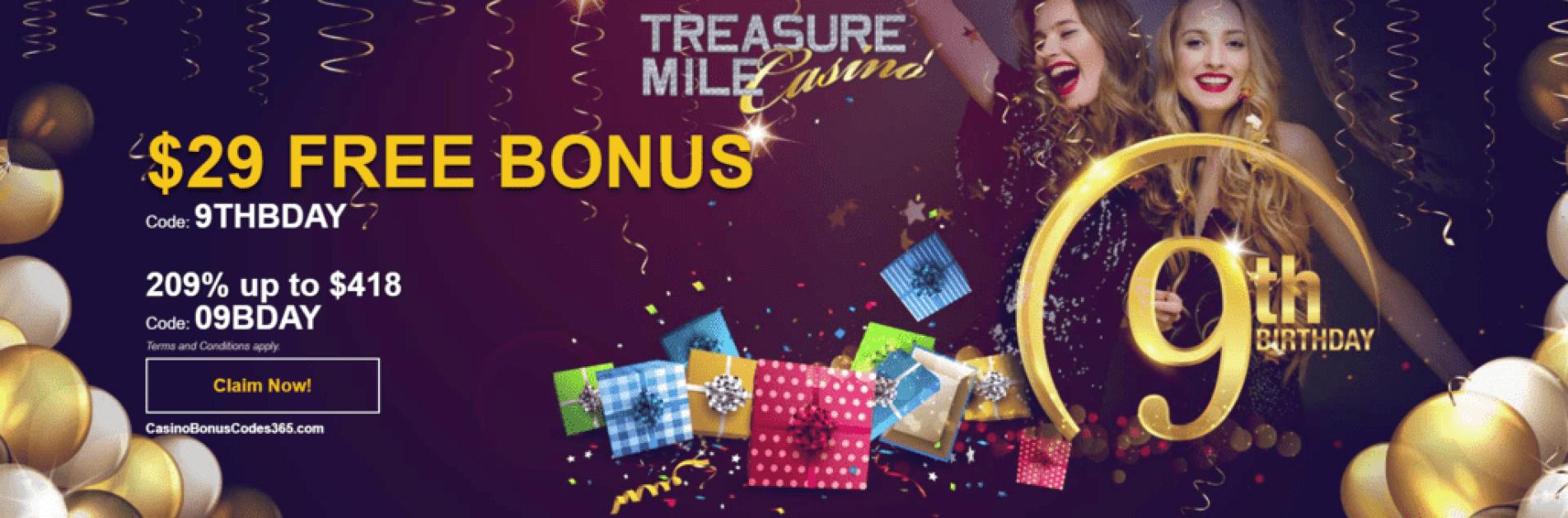 Treasure Mile Casino 9th Birthday Celebration Casino Bonus Codes 365