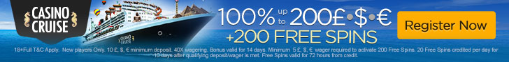 Casino Cruise 100% up to $200 plus 200 FREE Spins