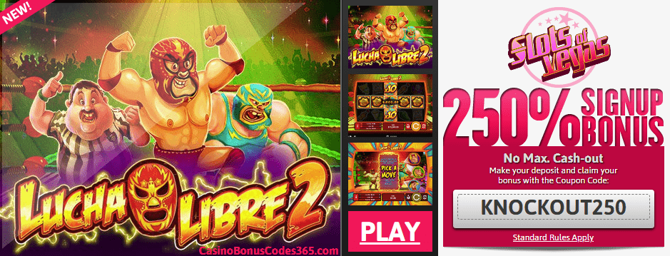 Slots of Vegas new RTG game Lucha Libre 2 250% No Rules Signup bonus plus 50 FREE Spins