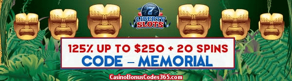 Liberty Slots Special May Promo 125% up to $125 plus 20 FREE Spins WGS City of Gold