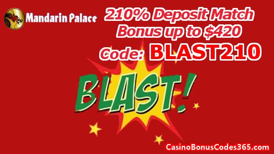 Mandarin Palace Online Casino 210% Deposit Match Bonus up to $420 BLAST210