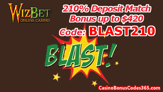 WizBet Online Casino 210% Deposit Match Bonus up to $420 BLAST210