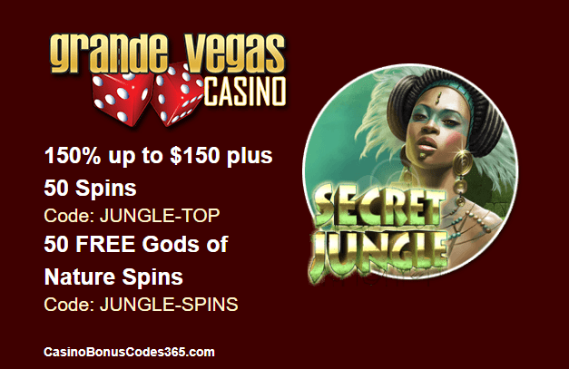 Grande Vegas Casino New RTG Game Gods of Nature Tian Di Yuan Su 150% up to $150 plus 100 Spins