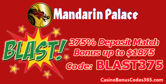 Mandarin Palace Online Casino 375% up to $1875 Deposit Match Bonus