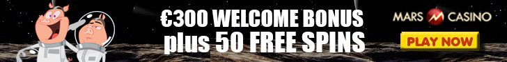Mars Casino €300 plus 50 FREE Spins Welcome Package