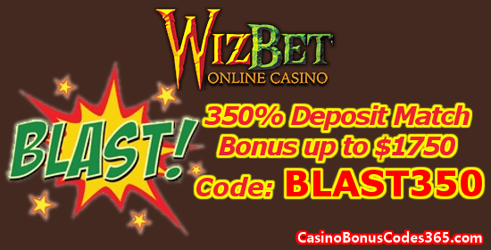 WizBet Online Casino 350% Up to $1750 Deposit Match Bonus