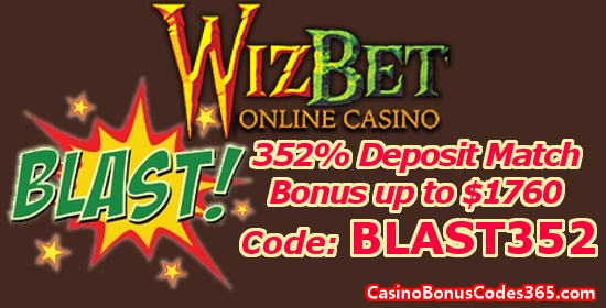 WizBet Online Casino 352% up to $1760 Deposit Match Bonus