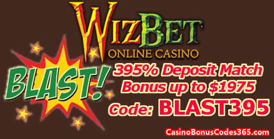 WizBet Online Casino 395% up to $1975 Deposit Match Bonus