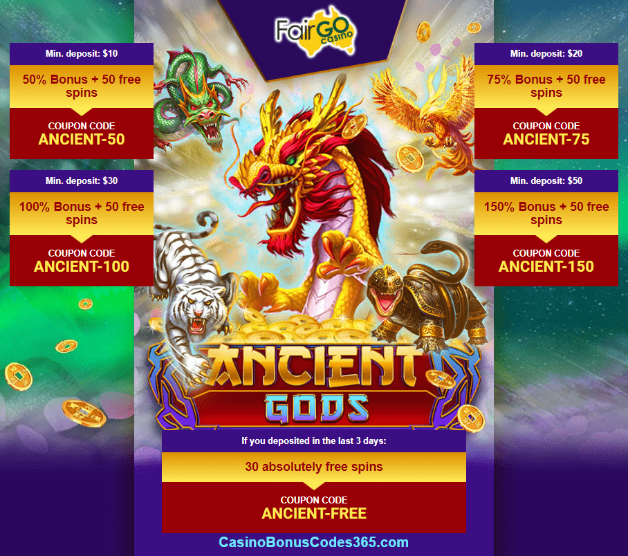 Fair Go Casino New Rtg Game Ancient Gods Bonuses And Free Spins