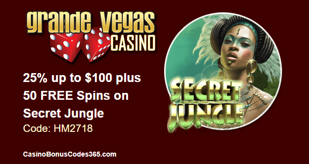 Grande Vegas Casino June 2018 RTG Secret Jungle 25% up to $100 plus 50 FREE Spins