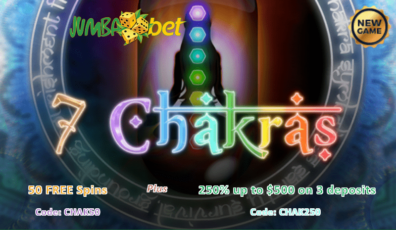 Jumba Bet New Game Saucify 7 Chakras 50 FREE Spins 250% Match Bonus