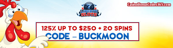 Liberty Slots 125% up to $250 plus 20 Funky Chicken Spins
