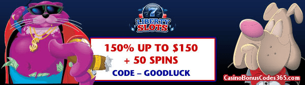 Liberty Slots 150% up to $150 Bonus plus 50 FREE Fat Cat Spins July Special Promo