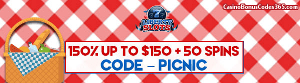 Liberty Slots 150% up to $150 plus 50 FREE Spins WGS 20000 Leagues