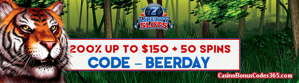 Liberty Slots 200% up to $150 plus 50 FREE Spins WGS King Tiger