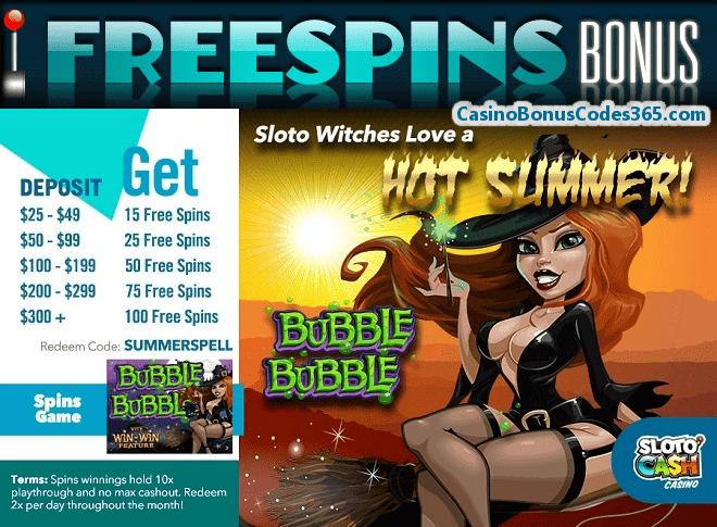SlotoCash Casino 100 FREE Spins RTG Bubble Bubble