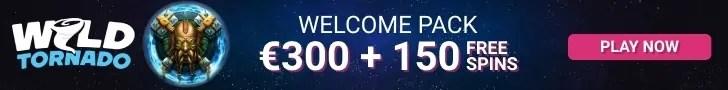 WildTornado Casino Welcome Package €300 Bonus plus 150 FREE Spins