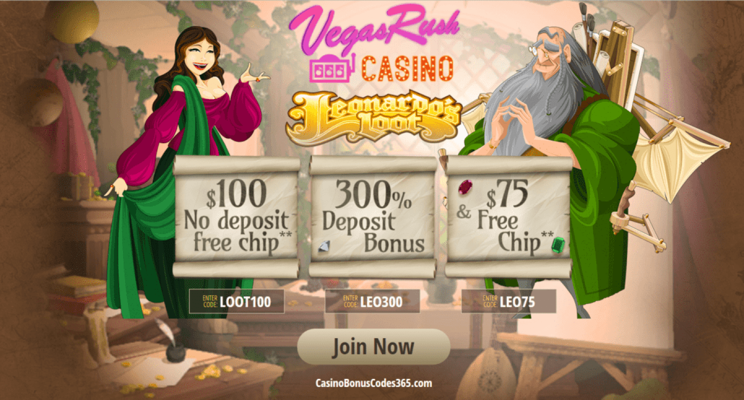 Vegas Rush Casino $175 FREE Chip plus 300% Bonus