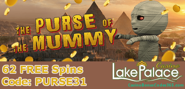 Lake Palace Casino 62 FREE Spins Saucify The Purse of The Mummy