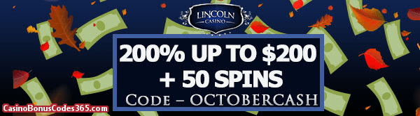 Lincoln Casino 200% bonus up to $200 plus 20 FREE Spins on Cash Grab Special Offer