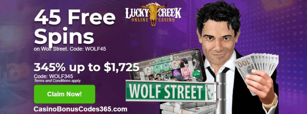 Lucky Creek Casino Saucify Wolf Street 45 FREE Spins plus 345% Match Bonus