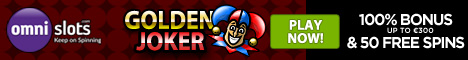 Omni Slots Golden Joker Welcome Bonus 100% plus 50 FREE Spins