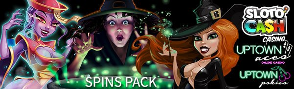SlotoCash Casino, Uptown Aces and Uptown Pokies Witches vs Zombies FREE Spins Pack