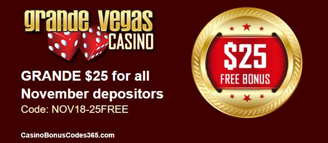 Grande Vegas Casino $25 FREE Chip November Special Offer